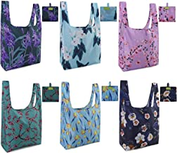 Grocery Tote Bags Machine Washable 6 Pack Flowers Flora Pattern Reusable Shopping Bags Foldable with Attached Pouch Extra Large 50 LBS Sturdy Water Resistant