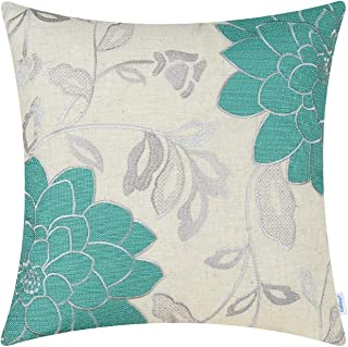 CaliTime High Class Throw Pillow Cover Case for Couch Sofa Home Decoration Vintage Dahlia Floral Applique Embroidered 18 X 18 Inches Teal & Silver