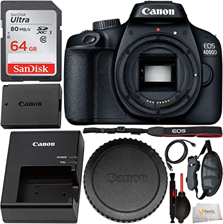 $219 Get Canon EOS 4000D DSLR Camera (Body Only) and Starter Accessory Bundle – Includes SanDisk Ultra 64GB SDXC Memory Card & Padded Wrist/Hand Strap & Mini HDMI Cable & Cleaning Pen & Dust Blower & MORE
