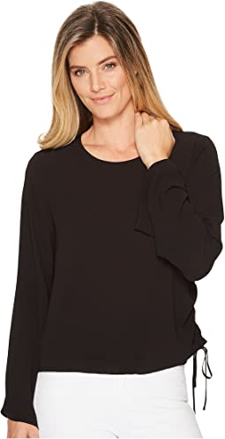 Vince Camuto - Bell Sleeve Side Drawstring Soft Texture Blouse