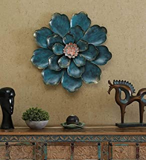 The Indian Craft House Blue Metal Shine Flower 3D Wall Iron Art Sculpture Inspired By Nature Beauty Handcrafted By Indian ...