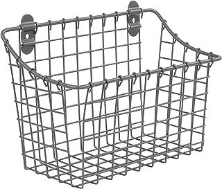 spectrum diversified vintage wall mount storage basket, industrial gray