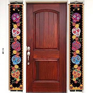 Cartel de pórtico con diseño de calavera de azúcar, día de los muertos, día de fiesta mexicana, para colgar en la pared, d...