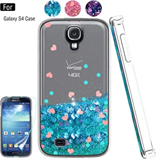 Galaxy S4 Liquid Case,S4 Case, Galaxy S4 Case with HD Screen Protector for Girls Women,Atump Bling Shiny Moving Quicksand Liquid TPU Protective Phone Case for Samsung Galaxy S4 Blue