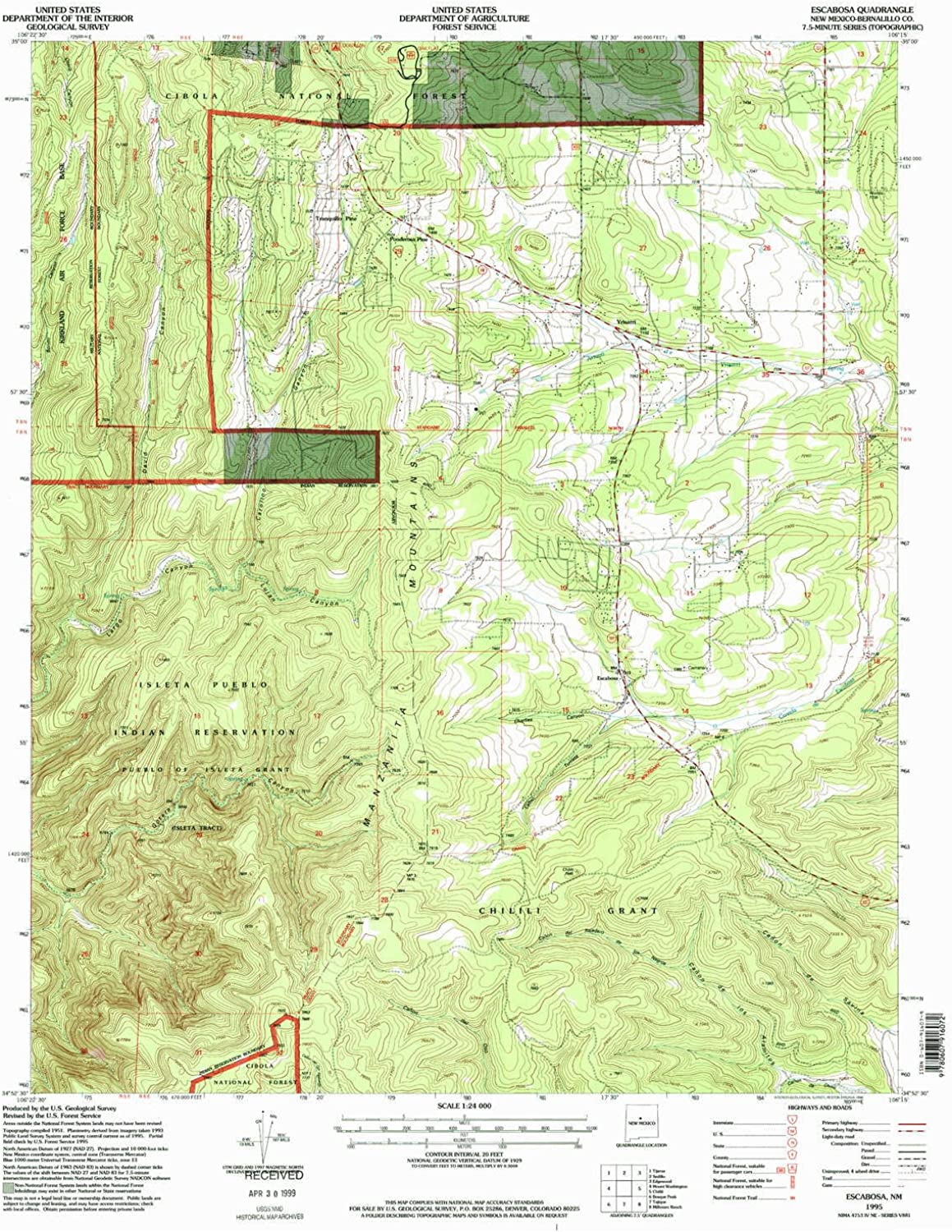 Escabosa NM topo map, 1 24000 Scale, 7.5 X 7.5 Minute, Historical, 1995, Updated 1998, 27.1 x 22 in