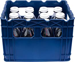 Plastic Crate for 1 Qt and 2 Qt Glass Milk Bottles Commercial Duty (Set of Twelve 32 Oz Glass Bottles including Crate)