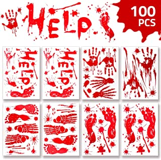 WAASII Halloween Decorations Window Decals Wall Stickers,Bloody Handprint Footprint Stickers Floor Clings,Horror PVC Stickers Decals for Halloween Vampire Zombie Party Decorations Supplies