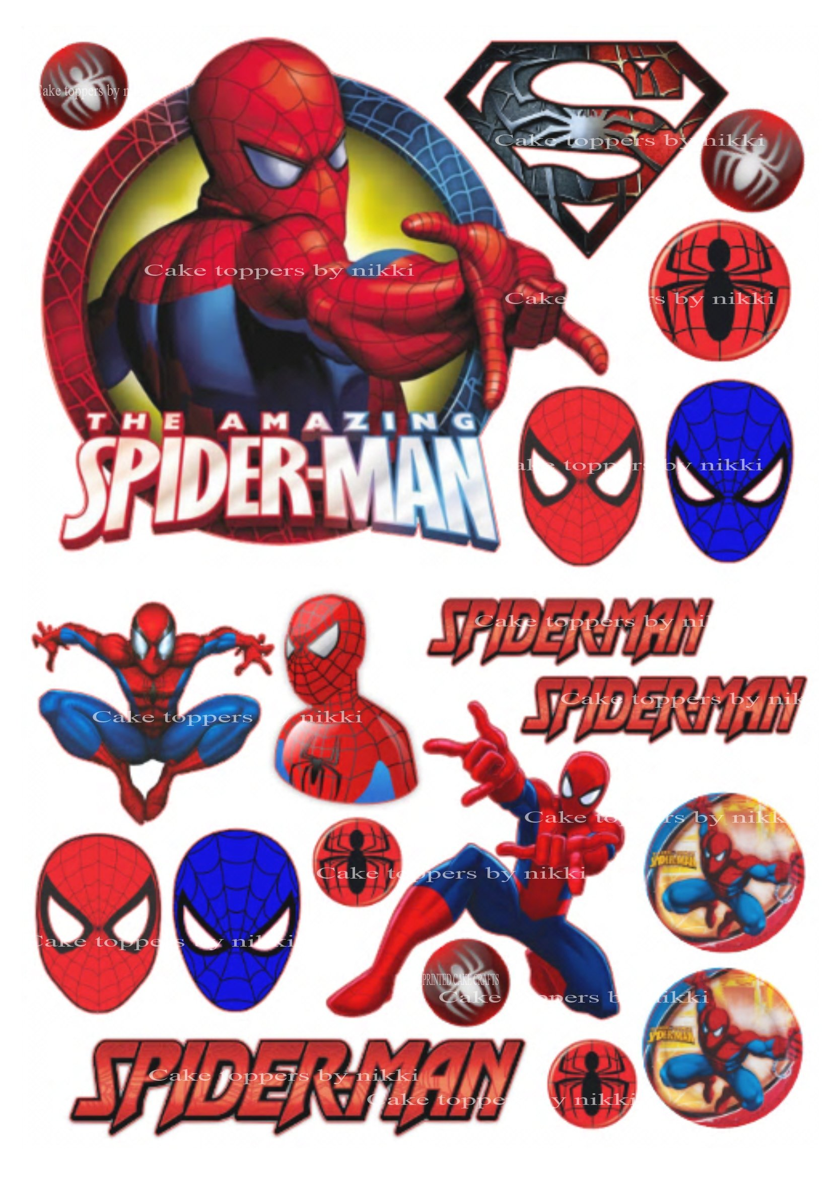 Magnificent 20Pc Precut Edible Icing Spiderman Boys Cake Decoration Toppers Funny Birthday Cards Online Unhofree Goldxyz