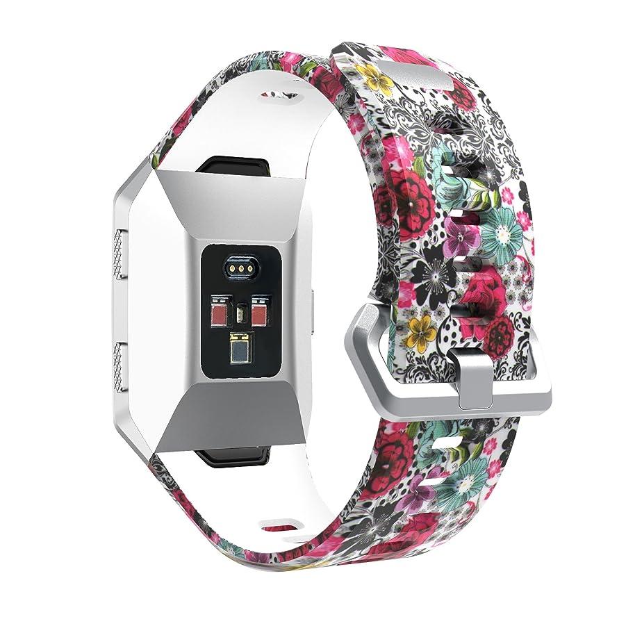 認証リマーク甘味MotivaJP Fitbit Ionic スマートウォッチバンド シリコン 腕時計ストラップ 交換ベルト (F)