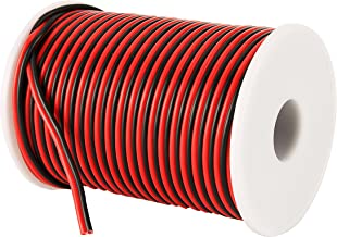 C-able 100FT 18 AWG Gauge Electrical Wire Hookup Red Black Copper Stranded Auto 2 Wire Low Voltage 12v DC Wire for Single ...