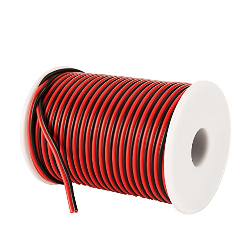 c-able 100ft 18 awg gauge electrical wire hookup red black copper stranded  auto 2