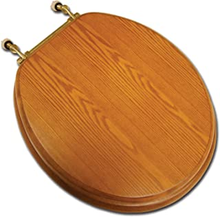 Mahogany C2B1R16BR Comfort Seats C1B1R-16BR Designer Solid Wood Toilet Seat with PVD Brass Hinges Round