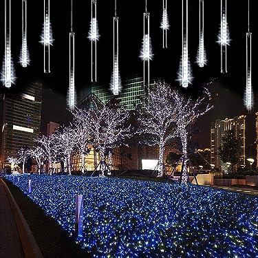 ZCplus - Cadena de luces LED para lluvia de meteoros, 11.8 pulgadas, 8 tubos 144 LED, luz de caída de nieve, cascada para boda, Navidad, decoración del árbol del jardín (blanco)