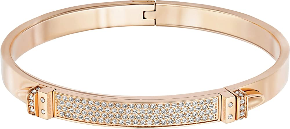 Bracciale da donna di swarovski bracciale rigido in pvd oro rosa con pavé di clear crystal 5184155