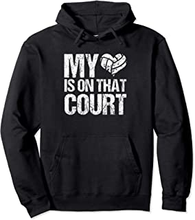 My Heart Is On That Court Volleyball Mom Distressed Hoodie