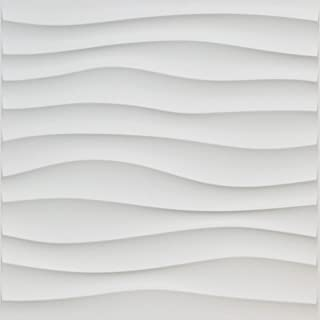 Art3d Plastic 3D Wall Panel PVC Wave Wall Design, White, 19.7