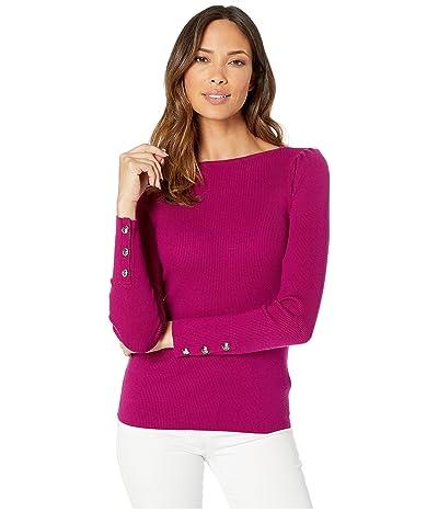 LAUREN Ralph Lauren Puff-Sleeve Boat Neck Sweater (Bright Claret) Women