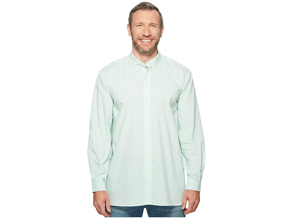 Polo Ralph Lauren Big Tall Poplin Long Sleeve Sport Shirt (Smith Green/White) Men