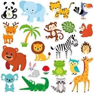 20 PCS Jungle Animals Thick Gel Clings Winter Safari Window Gel Clings Decals Stickers for Kids Toddlers and Adults Home A...