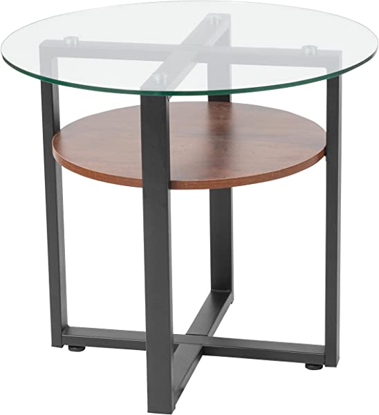Flash Furniture Princeton Collection Glass Side Table With Rustic Oak Wood Finish And Black Metal Legs