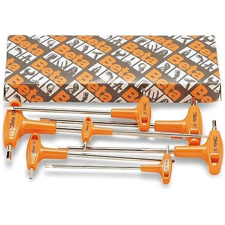 Beta 96T/S5P Set di 5 Chiavi Maschio Esagonale Piegate con Impugnatura, Nero/Arancione