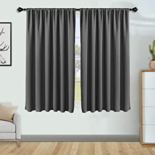 FLOWEROOM Grey Blackout Curtains for Bedroom 42 x 63 inch Length- Winter/Summer Thermal Insulated Window Curtain Panels, Sun Blocking and Noise Reducing Rod Pocket Living Room Curtains, 2 Panels