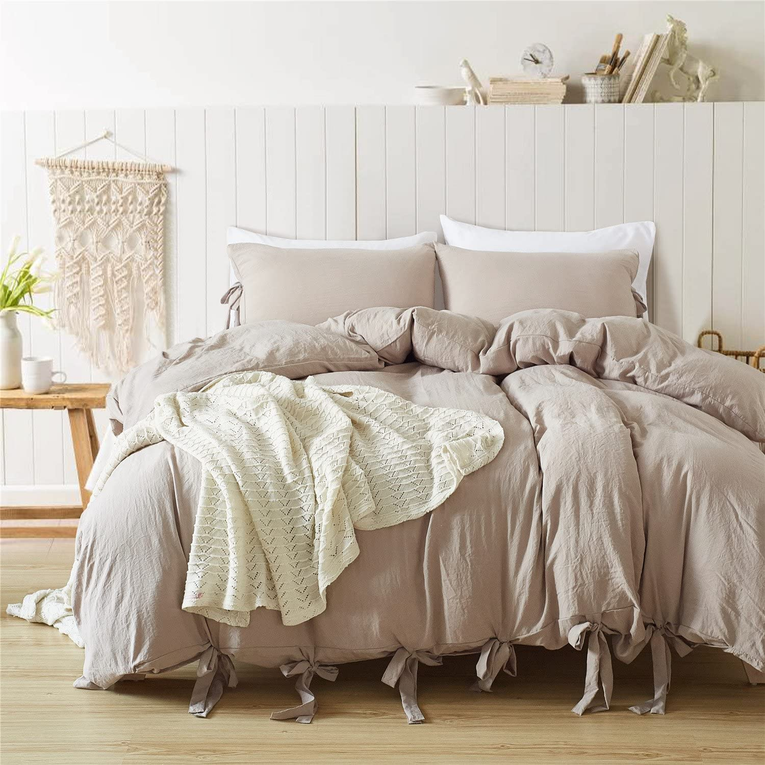 CoutureBridal Washed Cotton Duvet Cover Full Queen 90x90 Khaki Solid Modern Simple Soft Natural Wrinkled Look Reversible 3 Piece Bedding Set with Zipper Ties