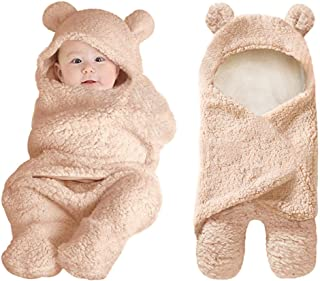 XMWEALTHY Cute Newborn Baby Boys Girls Blankets Plush Swaddle Blankets Brown