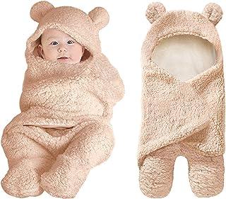 XMWEALTHY - Manta de peluche para recién nacidos, Lindo, talla única , Marrón
