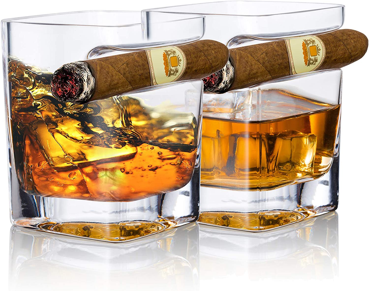 YouYah Cigar Whiskey Great interest Glasses with Holder-Set of 2 National products Ac