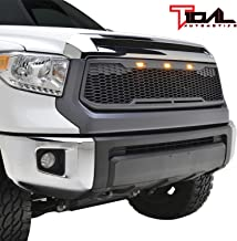 Tidal Replacement Tundra ABS Grille Upper Front Hood Grill - Charcoal Gray - With Amber LED Lights for 14-19 Toyota Tundra