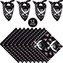 Syhood 12 Pieces Pirate Bandana Black Pirate Headband Cotton Pirate Captain's Headscarf for Boys Girls Adults Pirate Theme Party Halloween Costume Accessory