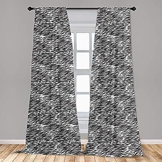 Ambesonne Zebra Print Window Curtains, Black and White Hand Drawn Animal Skin Camouflage Illustration, Lightweight Decorat...