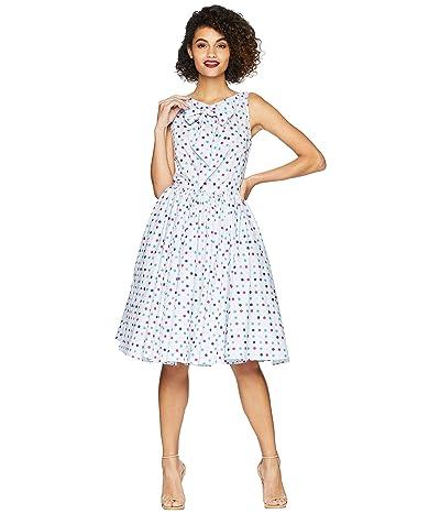 Unique Vintage Doheny Swing Dress (Light Blue/Polka Dots) Women
