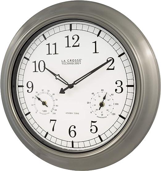 La Crosse Technology Wt 3181p Metal Clock 18 Inch Pewter Home Kitchen