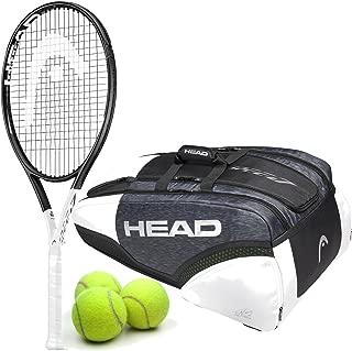 HEAD Graphene 360 Speed S Midplus 16x19 Tennis Racquet Starter Kit or Set Bundled with a Djokovic Tennis Bag and (1) Can of 3 Tennis Balls (Best Lightweight Racket for Power)
