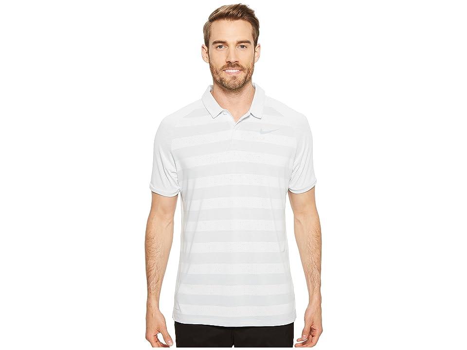 Nike Golf Zonal Cooling Stripe Polo (White/Flat Silver) Men