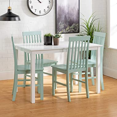Walker Edison Modern Color Dining Room Table and Chair Set Small Space Living Kitchen Table Set Dining Chairs Set, 48 Inch, 4