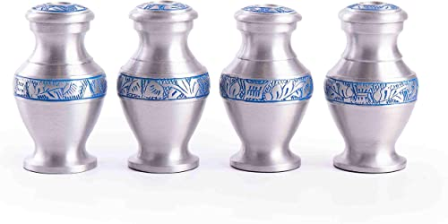 2021 GSM lowest Brands Keepsake Cremation Urns (Set of 4) - Mini Funeral Memorials in Silver Design with Box - Meant sale for Sharing of Token Amount of Ashes (3.75 Inch by 2.5 Inch) sale