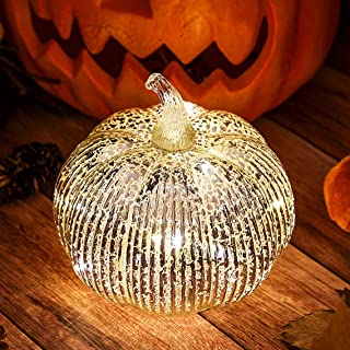 Hvfun Mercury Glass Light up Pumpkin with Timer- Fall Decoration for Home-Halloween Pumpkin Decoration (Silver)