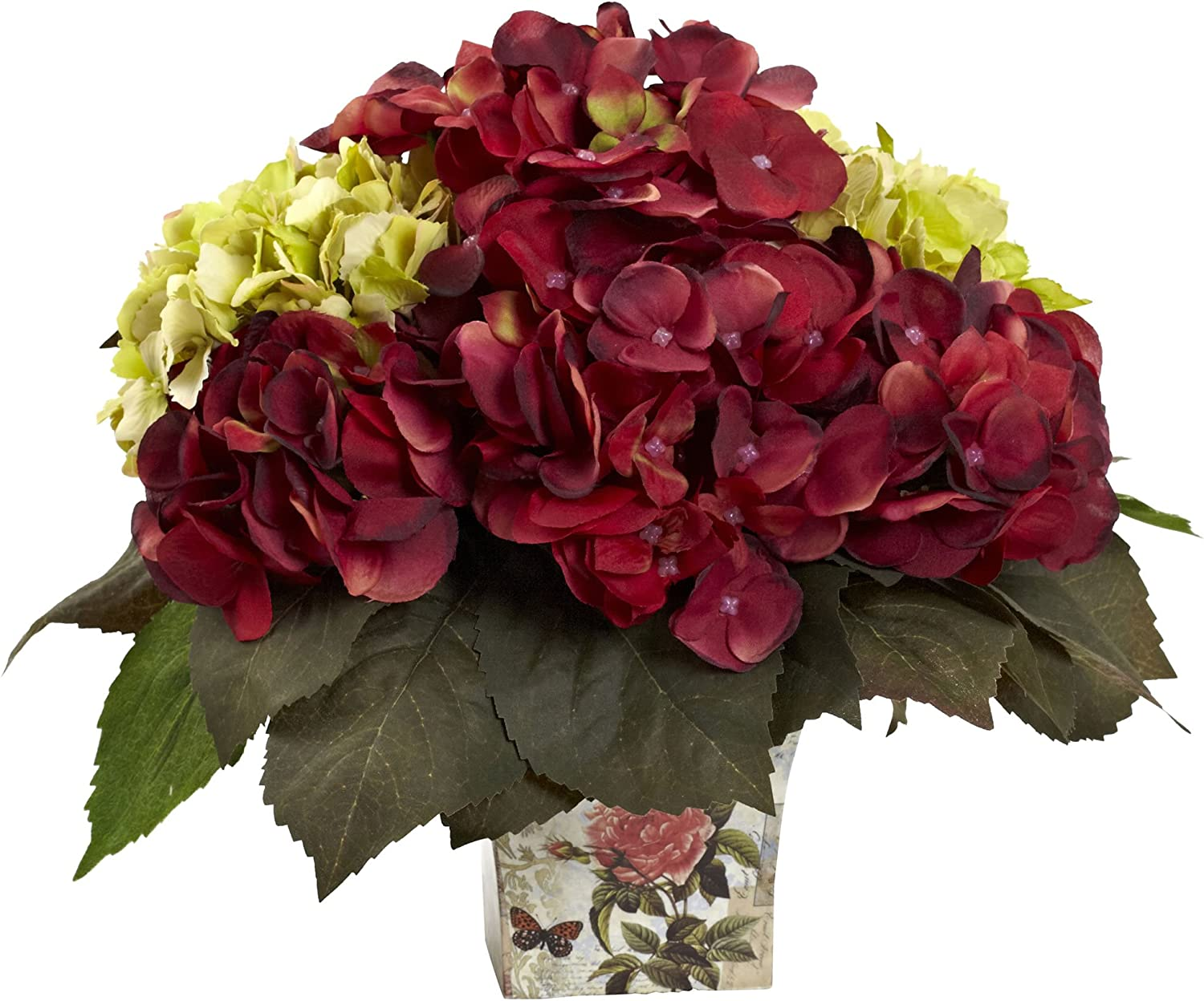 Nearly Natural Ranking TOP13 Manufacturer OFFicial shop 11in. Mini Green Hydrangea Arrang Silk Burgundy