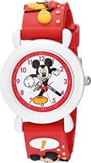 DISNEY Boys Mickey Mouse Analog-Quartz Watch with Plastic Strap, red, 16 (Model: WDS000394)