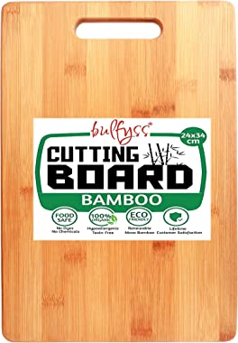Bulfyss Large Natural Bamboo Wood Chopping Cutting Board for Kitchen Vegetables, Fruits & Cheese, BPA Free, Eco-Friendly,