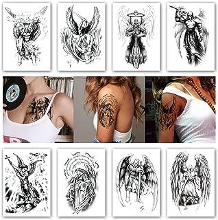 Kotbs 8 Sheets Temporary Tattoos for Men Women Wing Holy Angel Waterproof Temporary Tattoo Sticker Brave knight Warrior Flash Tattoos Body Art Arm Fake Tatoo