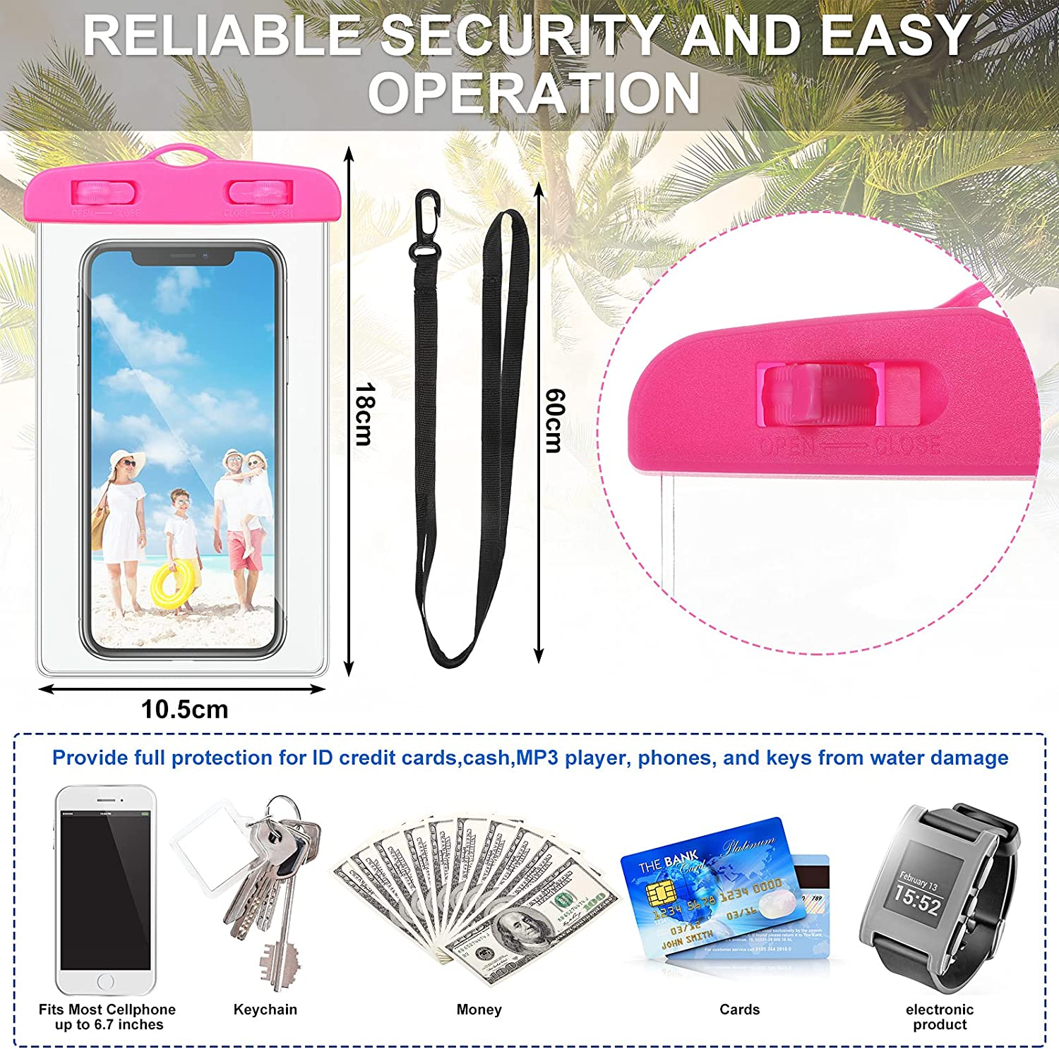 36 Pieces Universal Waterproof Phone Pouch Cell Phone Dry Bag with Lanyard Waterproof Phone Case Outdoor Swimming Phone Bag for Most Smartphones and Tablets, 2 Designs