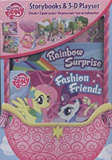 my little pony storybooks & 3-d playset: 2 books, 2 giant scenes, 64 press-outs, hot air balloon box