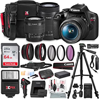 Canon T7 EOS Rebel DSLR Camera with EF-S 18-55mm f/3.5-5.6 is II and 55-250mm f4-5.6 is STM Lenses + UV Filter Kit & 64GB SD Card Deluxe Bundle