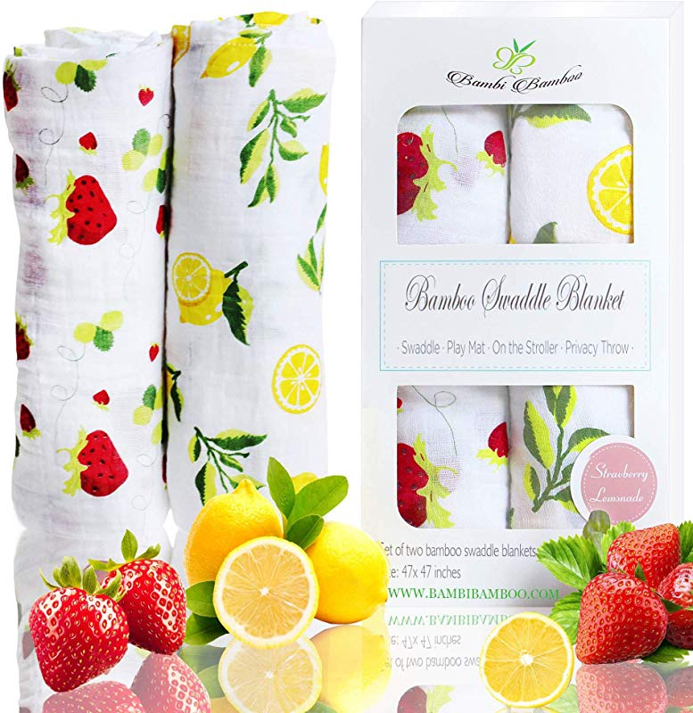Bambi Bamboo Muslin Swaddle Receiving Blankets Strawberry Lemon Extra Large Unisex Breathable Ultra Soft Baby Shower Gift Registry Essentials