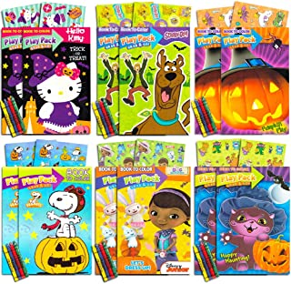 Halloween Party Favors Packs for Kids Toddlers ~ Set of 12 Packs Filled with Halloween Stickers, Small Coloring Book and Crayons (Halloween Party Supplies)