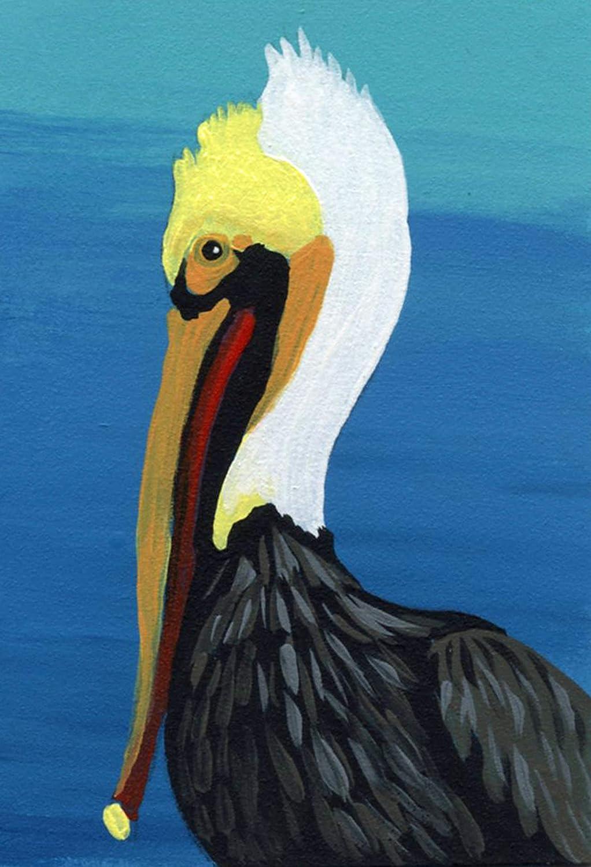 ACEO ATC -Brown Pelican Bird Alternative Max 42% OFF dealer Art Wildlife Painting-Car Miniature